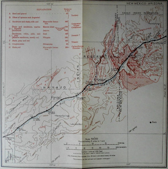 Map Of Arizona And New Mexico.1915 Railroad Map Arizona New Mexico Santa Fe Railway Etsy
