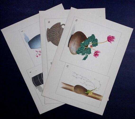 3 Vintage Ikebana Prints. Cyclamen Rose Berries Zen. Zen | Etsy