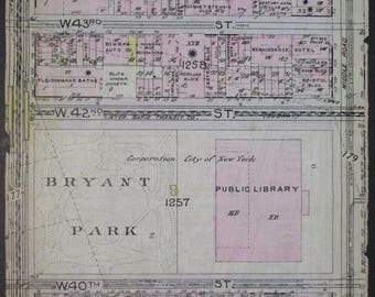 1912 Bryant Park NYC. Public Library. W 39th St to 44th, between 5th and 6th Avenue, Midtown Manhattan Original Antique map New York City