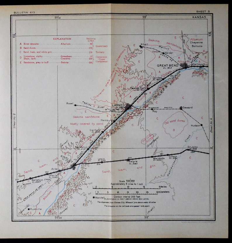 1915 Antique Kansas Railroad Map Great Bend Larned Kinsley Etsy