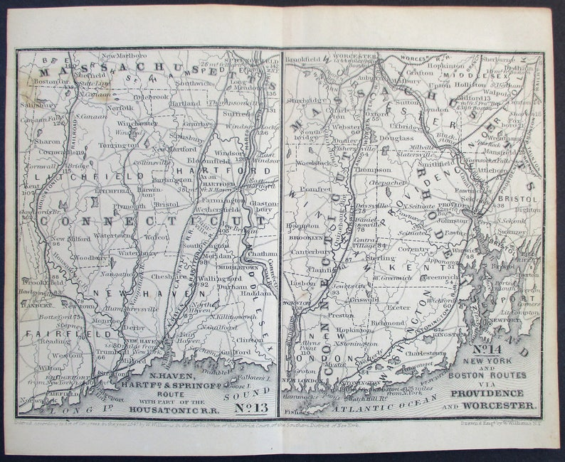 Map Of New York 1850.1850 New Haven New York Boston Map Of Railroads Routes Hartford Springfield And Providence Worcester