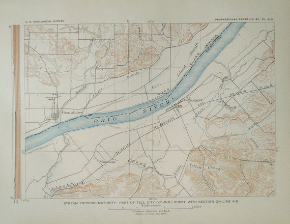 1908 Antique Map: Ohio River at Grandview, Lewisport Area, Border of  Indiana Kentucky IN KY. Topographic. Original. Over 100 years Old.