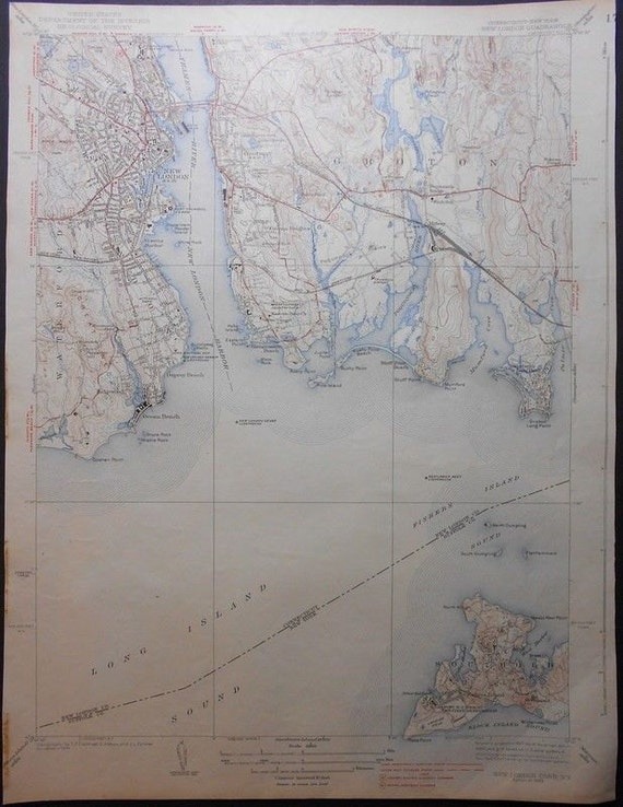 Topographic Map Ct.1938 Southold Groton New London Great Neck Connecticut Etsy