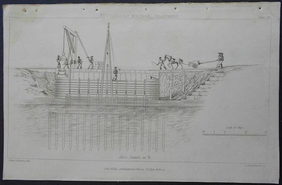 Antiguo Arquitectura GrabadoElevaciónSecciónPlan 200 1820 Puente De IngenieríaOriginal Años Más Imprimir SUzVpM