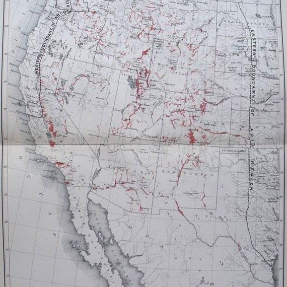 1890 Map USA Arid Region, Showing Irrigated Areas Western United States of  America.Original Antique Map California Nevada Arizona New Mexico