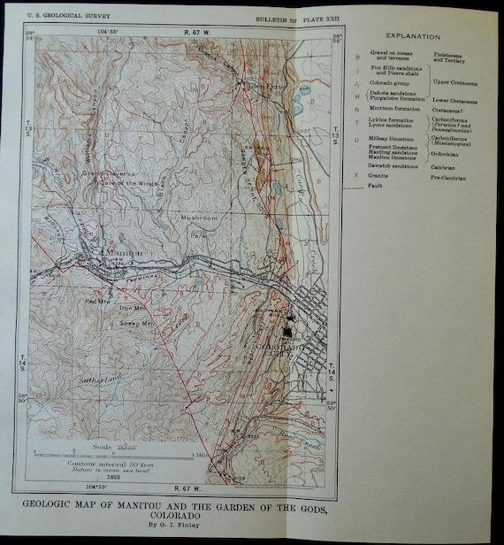 1922 Manitou Colorado And The Garden Of The Gods Geological Map Co Colorado City Redrock Canyon Glen Eyrie Antique Map Vintage