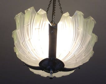 Art Deco shell glass hanging ceiling light