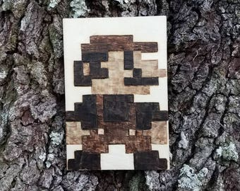 8 bit Mario Wood Burning