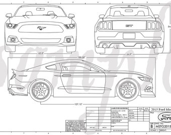 Mustang drawing etsy mustang engineering drawing malvernweather Gallery
