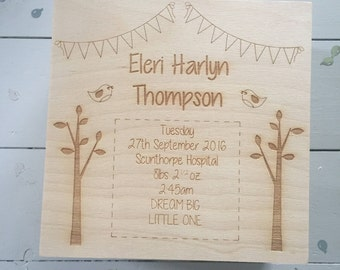 Personalised Memory Keepsake Box, Gift, Birds, Trees, Bunting, Unique, Wood, Christening, Birthday