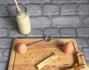 Personalised Wooden egg and soldiers board, princess, castle,hearts, stars, gift, breakfast