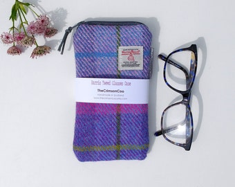 Tartan Harris Tweed Glasses Case, Spectacle Case, Sunglasses Case, Handmade with cotton lining, secure zipped closure, Ladies Gift