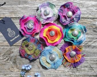Harris Tweed Flower Brooch, Handmade Gift, Corsage, Ladies Gift, Scottish Gift, Handmade Brooch, Pin Brooch, Floral Brooch, Plaid gift
