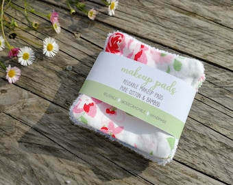 Organic Bamboo & Cotton Facepads, washable and reusable, face wipes, makeup pads, makeup removers, zero waste, handmade