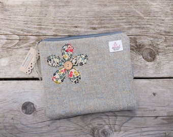 Harris Tweed Liberty Appliqued Bag Pouch, Ladies Scottish Gift, Gifts for Ladies, Duckegg Green Purse, Flower Purse, Makeup Bag