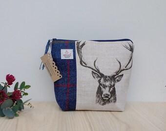 Navy Tartan Harris Tweed and Cotton Stag Print Cosmetic Bag, Small Wash Bag, Sponge Bag, Doop, Tartan, Scottish Gift, Ladies Gift, Plaid