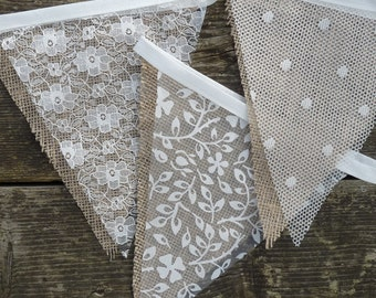 Hessian Wedding Bunting Rustic, Lace Bunting, Marque Venue Decoration, Party Decoration, Photo prop