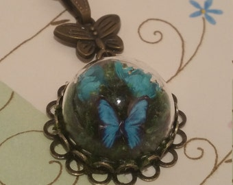 Butterfly Necklace, Glass Dome Mini Terrarium with Flowers, Moss and Butterfly Necklace, Teal Blue