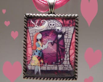 Jack and Sally Necklace, The Nightmare Before Christmas Necklace, Jack and Sally Valentine Necklace