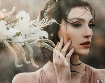 Delicate Silver Hair Vine With Dainty White Flowers, Wedding Hair Accessory, Bridal Wreath, Wedding Hair Vine