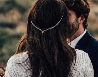 Hair Chain Accessory, Wedding Head Chain, Silver Hair Chain, Silver Hair Jewelry, Bridal Head Jewelry, Wedding Head Piece.