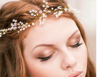 Pearl Hair Vine, Bridal Hair Vine, Gold Hair Accessory, Wedding Hair Piece, Bridal Wreath, Hair Jewelry