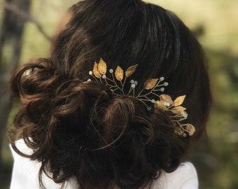 Leaf Hair Pins, Gold Hair Pins, Wedding Hair Accessory, Gold Leaf Hair Pins, Bridesmaid Hair Accessory