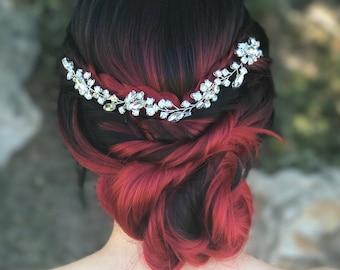 Rhinestone Hair Accessory, Silver Hair Vine, Bridal Hair Accessory, Wedding Hair Piece, Bridal Hair Jewelry