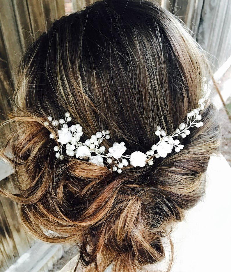 Silver Wedding Bridal Hair Comb With White Flowers And Rhinestones Pearl Accents Silver Wedding Hair Accessory Hair Comb