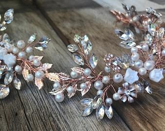 Rose Gold Wedding Hair Accessory, Bridal Hair Accessory, Bridal Hair vine, Bridal headband, Bridal Hair Jewelry