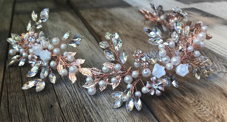 Gold Silver Pearl Wedding Long Headband Hair Accessories