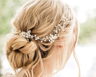 Delicate Gold Hair Vine, Wedding Hair Accessory, Wedding Hair Piece, Bridal Hair Wreath, Crystal Pearl Babies Breath,