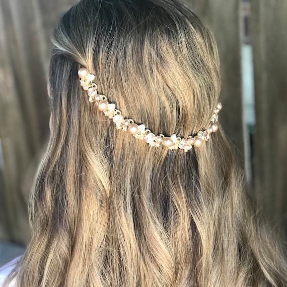 wedding hair chain accessories Boho Bridal headpiece Wedding hair jewelry Bridal hair chain Bridal hair accessories floral Rose gold hair