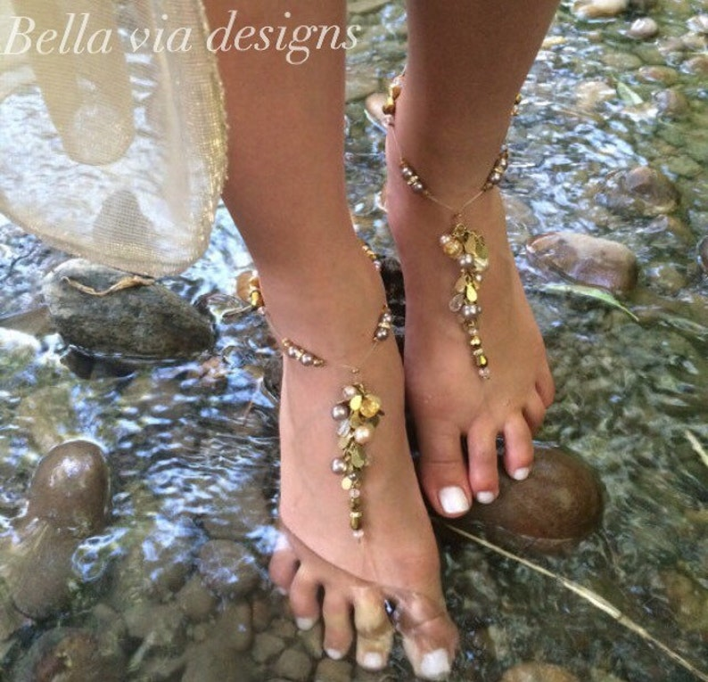 foot jewelry bridesmaids gift Barefoot sandals wedding sandal champagne cream beaded sandal Beach barefoot sandals