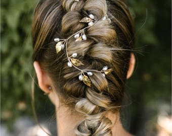 Leaf Hair Accessory, Golden Leaf Hair Vine, Grecian Hair Accessory, Pearl Wreath Headband, Ivy Hair Crown