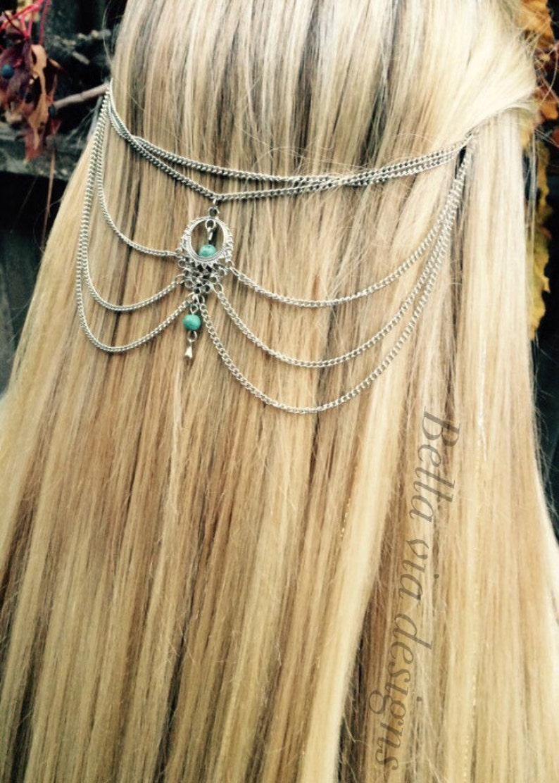 Hippie Head Piece. Hair Chain Accessory Tribal Head Accessory Silver Head Chain Gypsy Hair Chain Jewelry