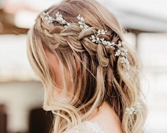 Wedding Hair Accessory Perfect For The Boho Bride, Silver Or Gold Baby's Breath Hair Vine