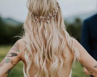 Hippie Hair Vine, Bridal Leaf Hair Vine, Bridal Headpiece, Wedding Hair Accessory, Bridal Wreath, Boho Hair Crown