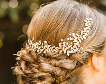 Gold Sparkly Rhinestone Hair Vine With Jeweled Leaves And Accent Pearls, Bridal Hair Accessory