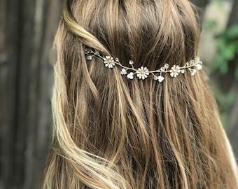 Daisy Hair Vine Perfect For Your Flower Girl, Flower Wedding Hair Accessory, Bridal Hair Vine