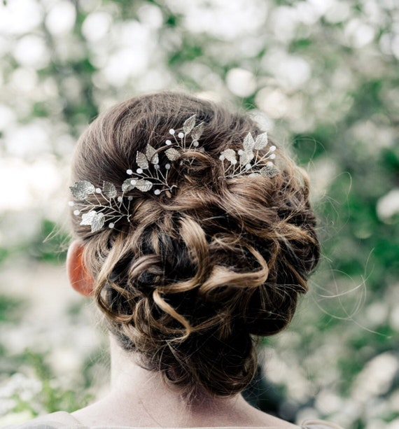 Silver Or Gold Leaf Hair Pins Bridesmaid Hair Accessories For Etsy