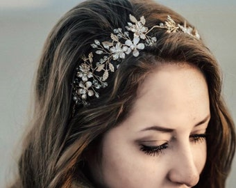 Floral Bridal Headband With Metal Flowers, Flowers May Be Customized To Any Color, Wedding Hair Accessory