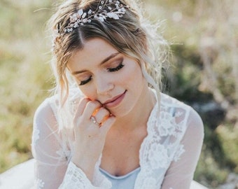 Bridal Headband For The Whimsical  Boho Bride. Hair Vine Comes In Rose Gold, Silver And Gold