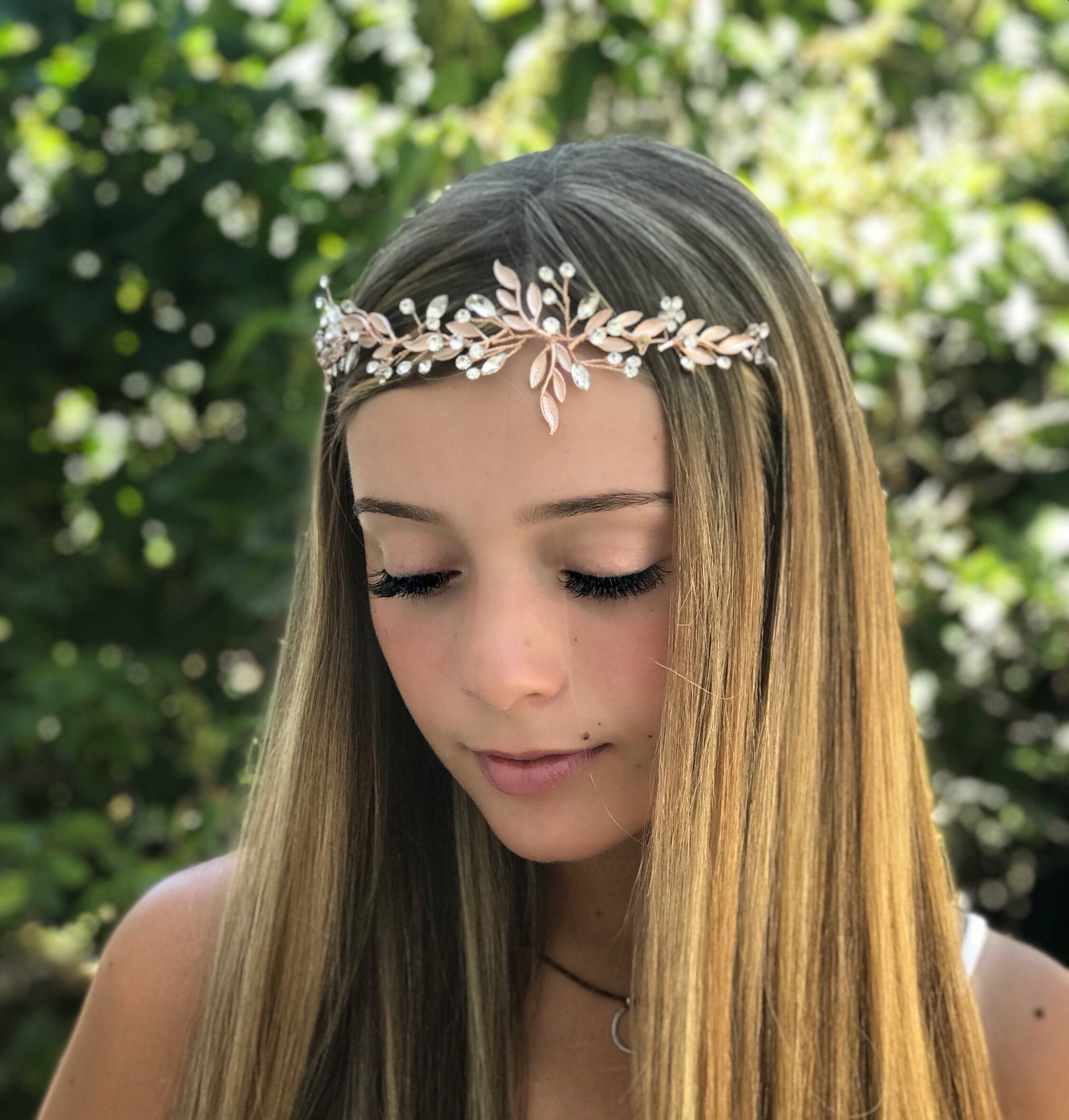Rose Gold Hair Accessory For Your Flower Girl Bridal Hair Vine With Leaves And Rhinestones