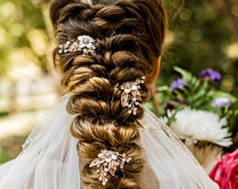 Delicate Wedding Hair Pins Three Colors Choices, Gold Silver And Rose Gold