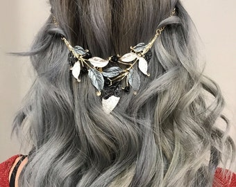 Hair Chain Jewelry With A  Black Gunmetal And Silver Leaf Design, Unique Hair Accessory
