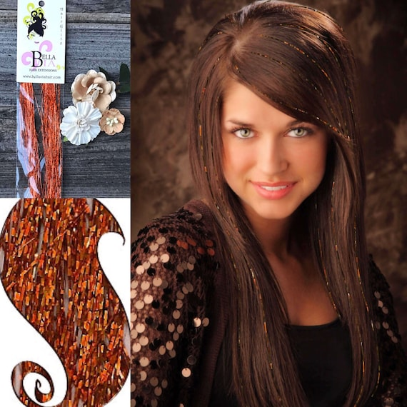 Copper Hair Tinsel Bling Hair Extensions Copper Hair Etsy