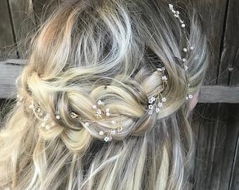 Delicate Gold Hair Vine, Pearl Hair Vine, Wedding Hair Accessory, Bridal Wreath, Wedding Hair Vine, Pearl Hair Crown