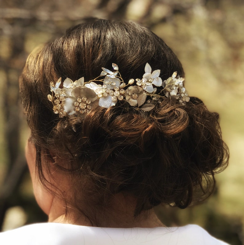 Silver flower Hair Comb Mixed metal clip Bridal Hair Comb Bridal Flower Hair Comb Wedding Hair Accessory