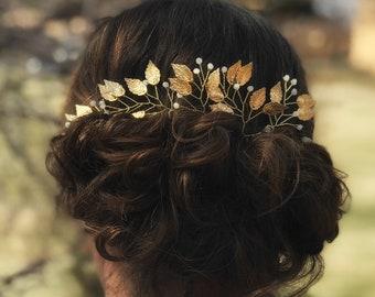 Wedding Leaf Hair Pins, Bridal Gold Hair Pins, Wedding Hair Accessory, Gold Leaf Hair Pins, Bridesmaid Hair Accessory